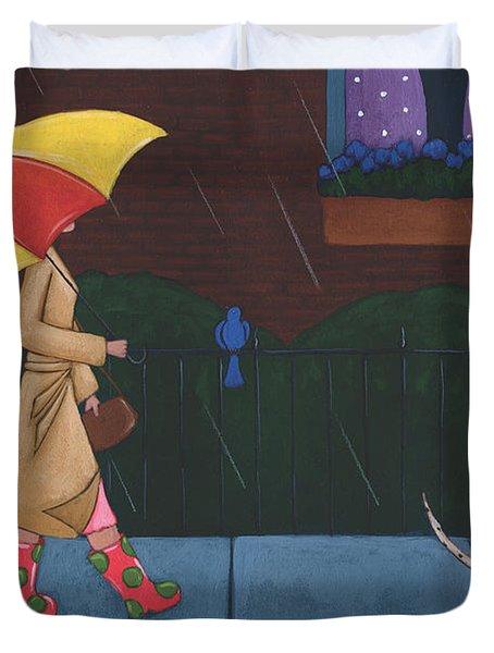 A Walk On A Rainy Day Duvet Cover