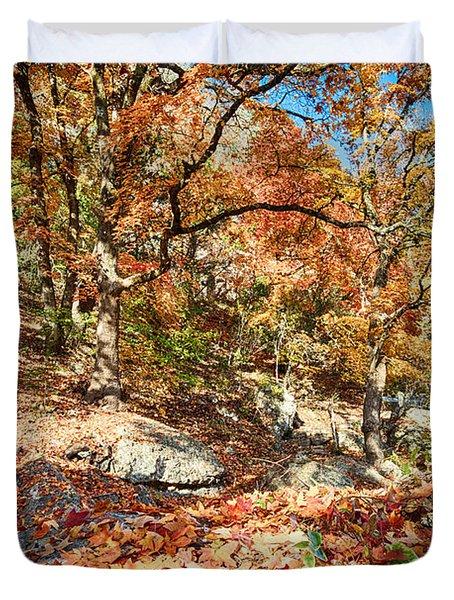 A Walk Through The Maple Trail Duvet Cover