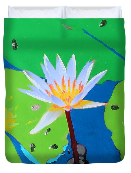 A Water Lily In Its Pad Duvet Cover