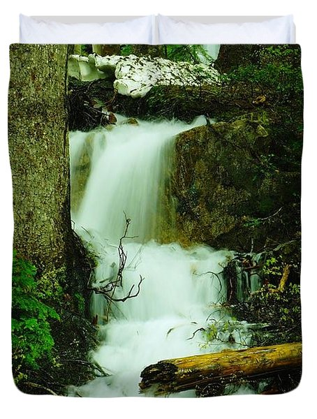 A Waterfall In Spring Thaw Duvet Cover by Jeff Swan