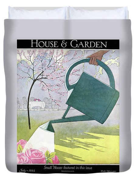 A Watering Can Above Pink Roses Duvet Cover