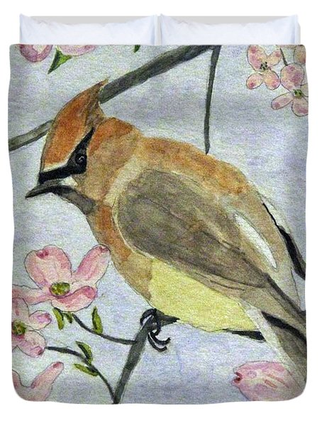 A Waxwing In The Dogwood Duvet Cover