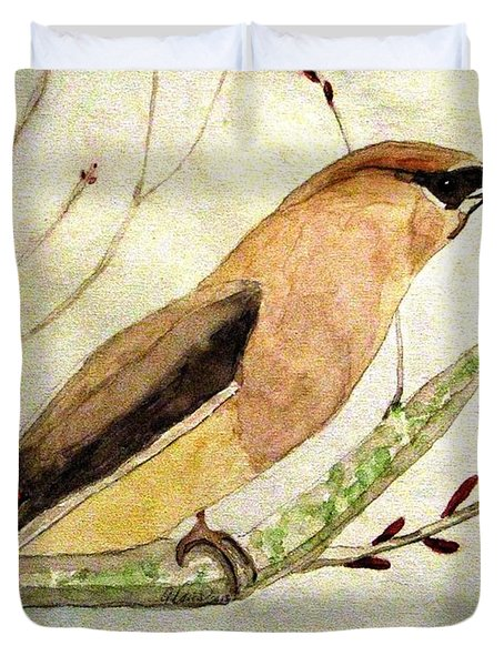 A Waxwing In The Orchard Duvet Cover