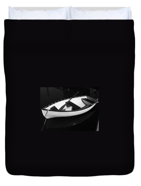 A White Rowboat Duvet Cover by Xueling Zou