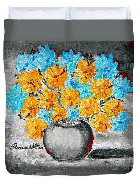 A Whole Bunch Of Daisies Selective Color II Duvet Cover by Ramona Matei