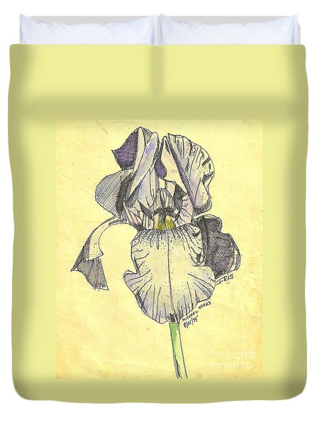 Duvet Cover featuring the photograph A Wild Lavender Louisiana Iris by Michael Hoard