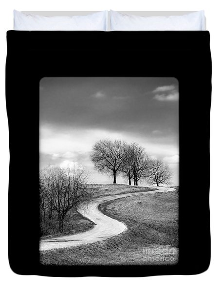 A Winding Country Road In Black And White Duvet Cover