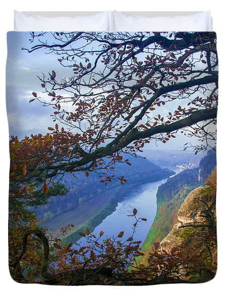 A Window To The Elbe In The Saxon Switzerland Duvet Cover