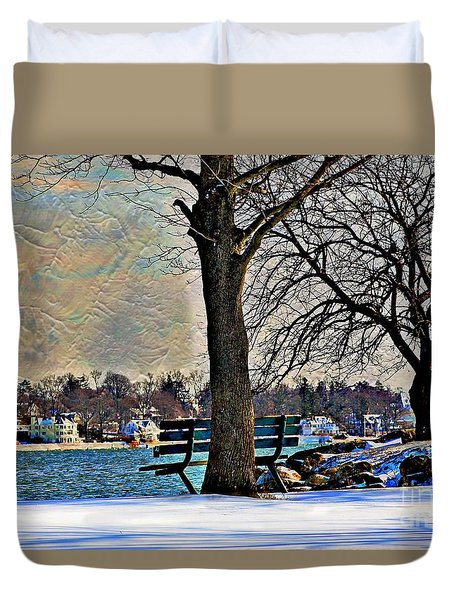 Duvet Cover featuring the photograph A Winter Day by Judy Palkimas