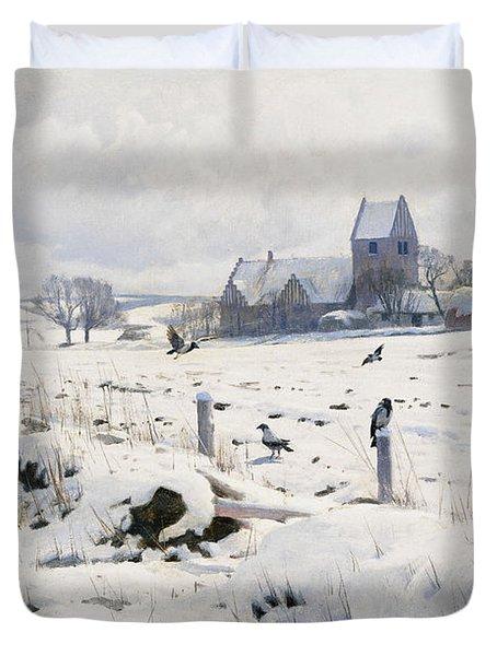 A Winter Landscape Holmstrup Duvet Cover by Peder Monsted
