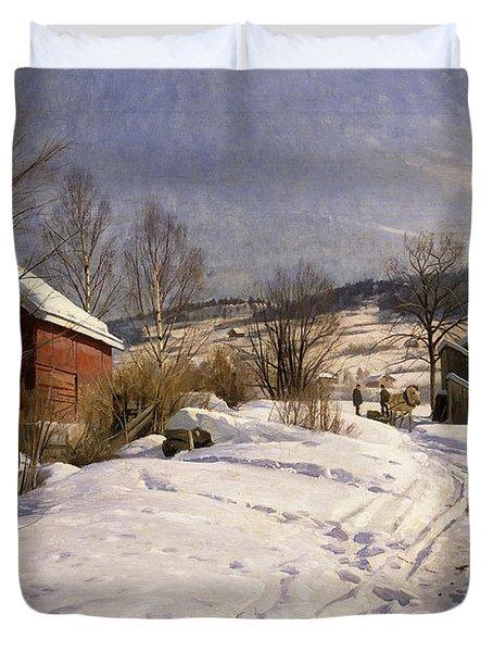 A Winter Landscape Lillehammer Duvet Cover by Peder Monsted