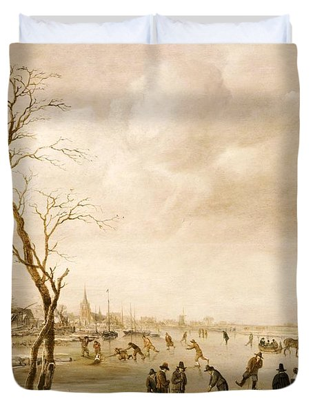 A Winter Landscape With Townsfolk Skating And Playing Kolf On A Frozen River Duvet Cover by Aert van der Neer