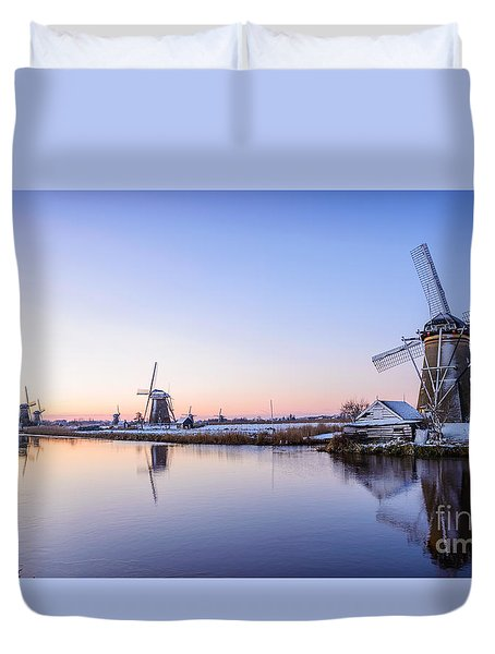 A Cold Winter Morning With Some Windmills In The Netherlands Duvet Cover