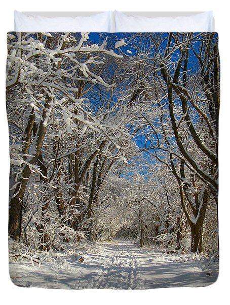 Duvet Cover featuring the photograph A Winter Road by Raymond Salani III
