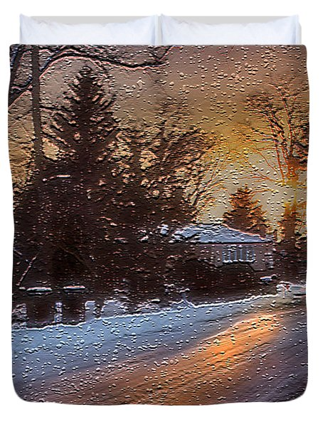 A Winter Sunset Duvet Cover by Mikki Cucuzzo