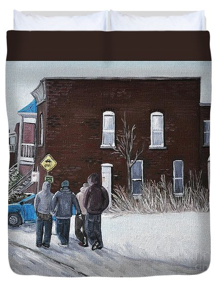 A Winter Walk In Montreal Duvet Cover by Reb Frost