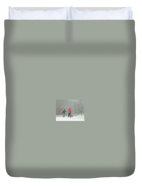 Duvet Cover featuring the photograph A Winter Walk In The Park - Silver Spring Md by Emmy Marie Vickers