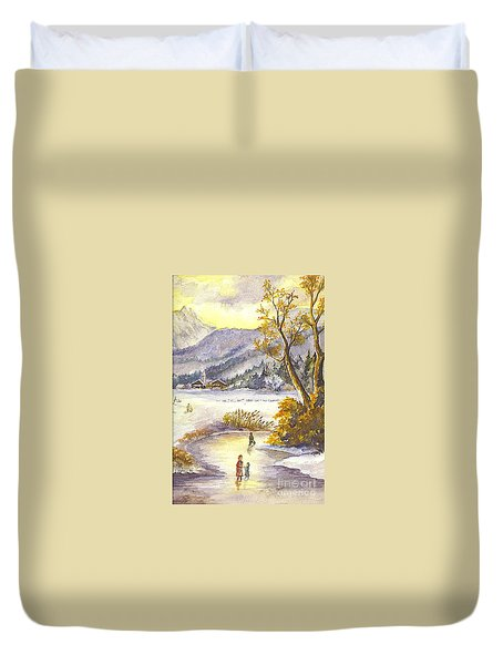 Duvet Cover featuring the painting A Winter Wonderland Part 2 by Carol Wisniewski