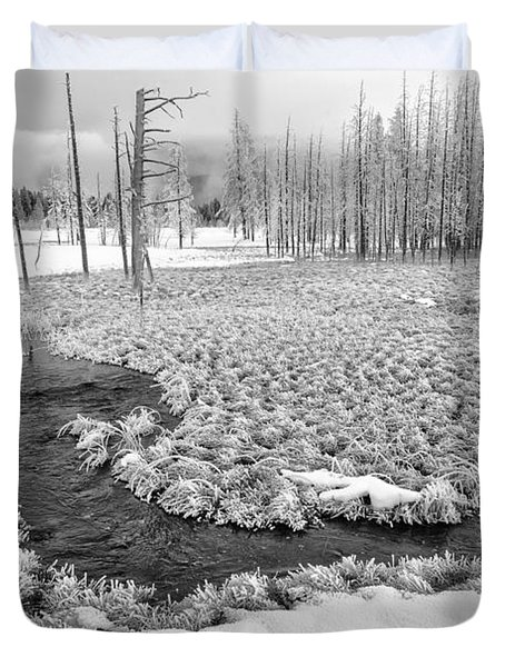 A Winter's Afternoon In Yellowstone Duvet Cover by Sandra Bronstein