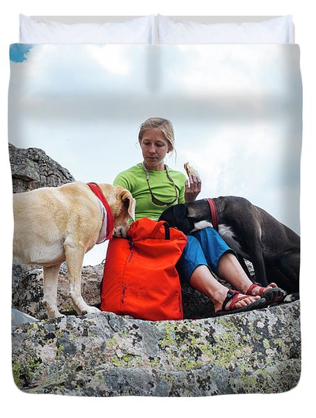 A Woman Sharing Her Lunch With Her K9 Duvet Cover