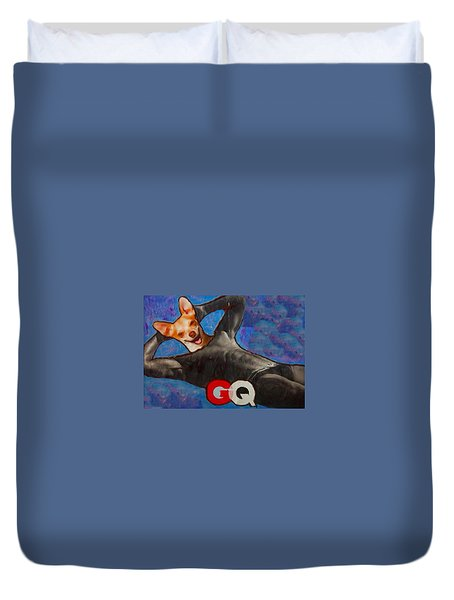 Duvet Cover featuring the painting A Woman's Best Friend  by Lisa Piper