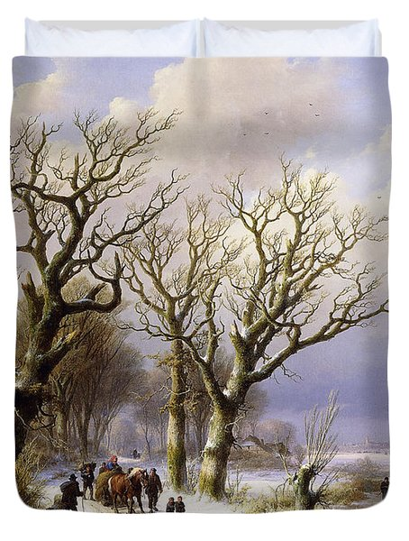 A Wooded Winter Landscape With Figures Duvet Cover by Verboeckhoven and Klombeck