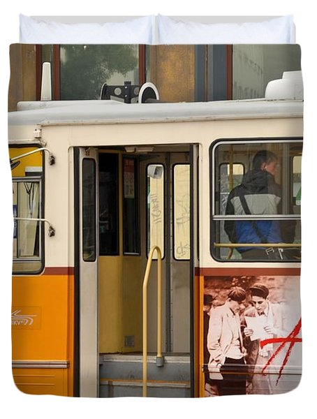 A Yellow Tram On The Streets Of Budapest Hungary Duvet Cover