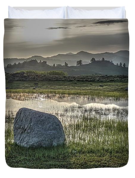 Duvet Cover featuring the photograph A Yellowstone Sunrise And Hazy Morning Ridges by Bill Gabbert