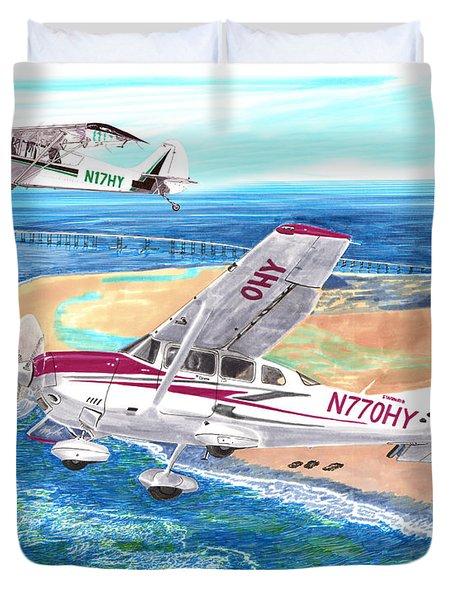 Cessna 206 And A1a Husky Duvet Cover by Jack Pumphrey