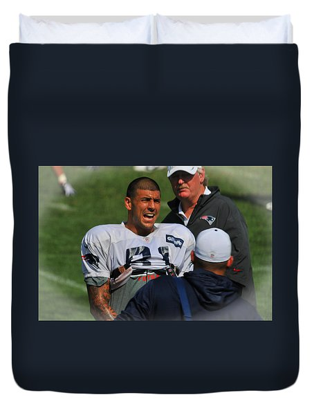 Aaron Hernandez With Patriots Coaches Duvet Cover by Mike Martin