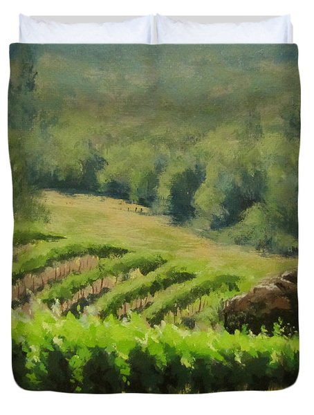 Abacela Vineyard Duvet Cover by Karen Ilari