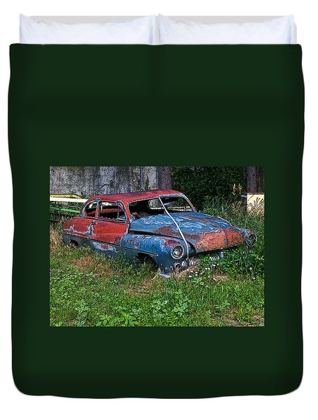 Abandoned 1950 Mercury Monteray Buick Duvet Cover