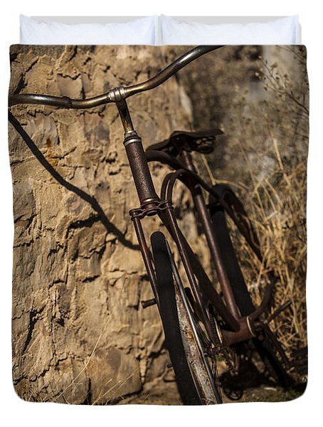 Abandoned Bicycle Duvet Cover by Amber Kresge