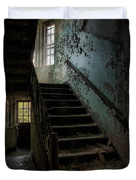 Abandoned Building - Haunting Images - Stairwell In Building 138 Duvet Cover by Gary Heller