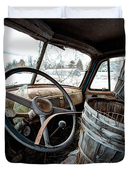 Duvet Cover featuring the photograph Abandoned Chevrolet Truck - Inside Out by Gary Heller