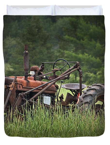Abandoned Farm Tractor In The Grass Duvet Cover by Randall Nyhof
