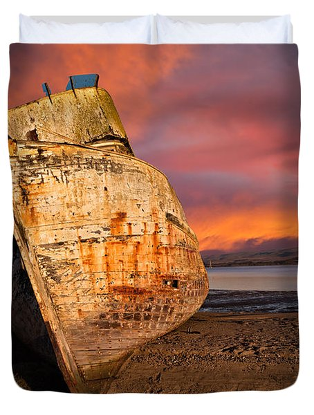 Abandoned Fishing Boat At Inverness Duvet Cover