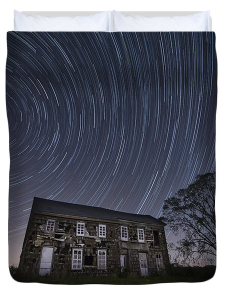 Abandoned History Star Trails Duvet Cover