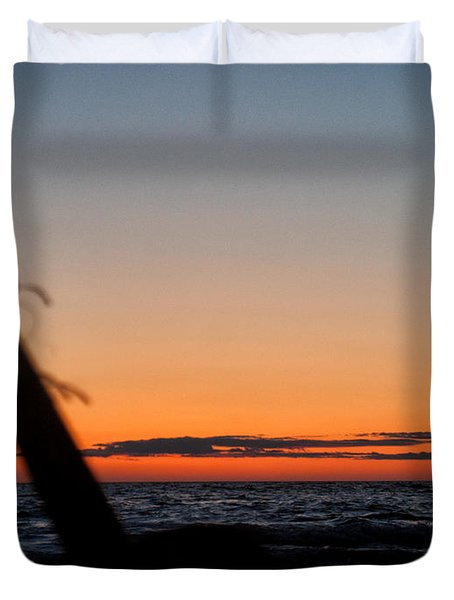 Acoustic Guitar On The Beach Duvet Cover by Mike Santis