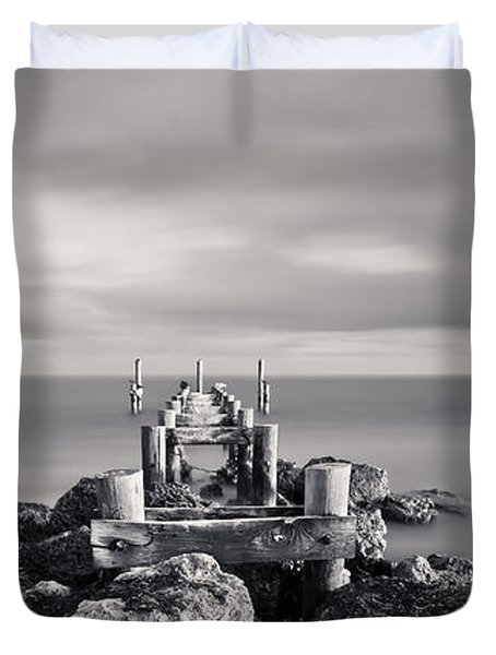 Abandoned Pier Duvet Cover by Adam Romanowicz