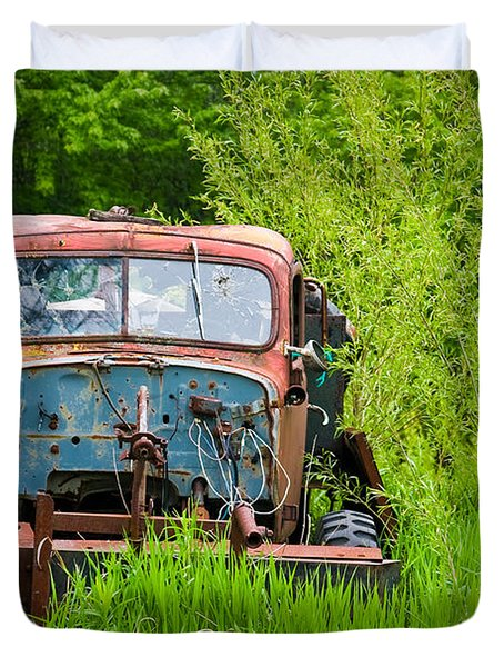 Abandoned Truck In Rural Michigan Duvet Cover by Adam Romanowicz