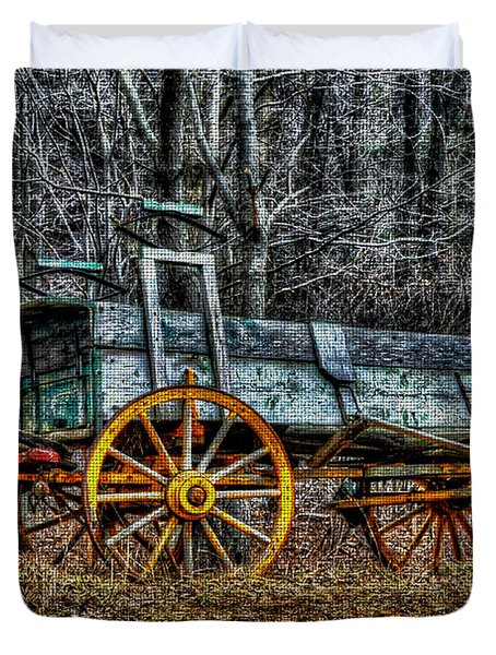 Abandoned Wagon Edge Of Field Duvet Cover by Dan Friend