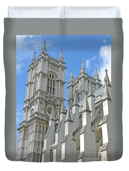 Duvet Cover featuring the photograph Abbey Towers by Ann Horn