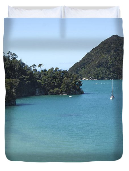 Abel Tasman Bay With Sail Boat Duvet Cover