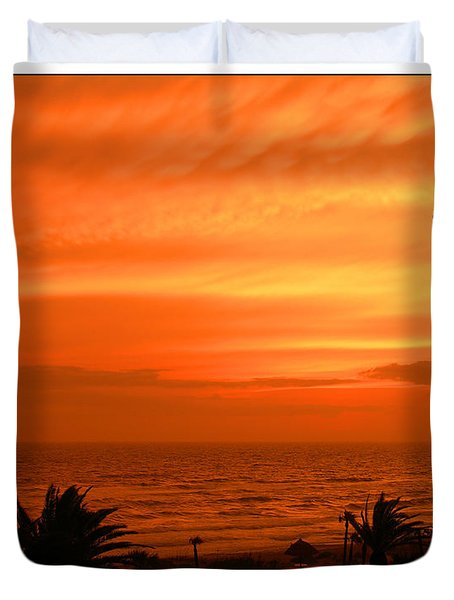 Duvet Cover featuring the photograph Ablaze by Mariarosa Rockefeller