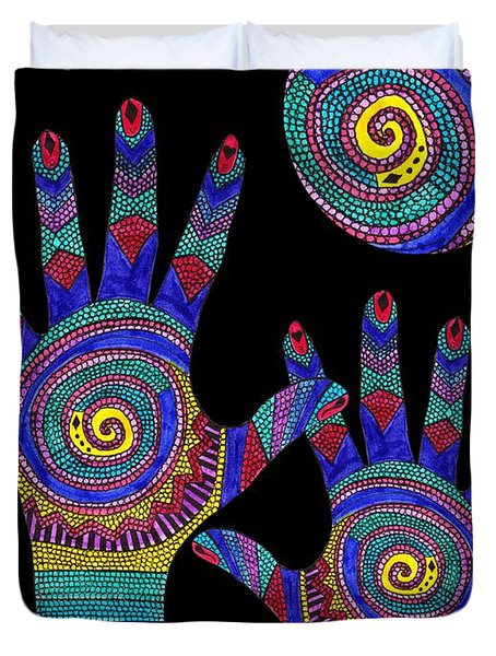 Aboriginal Hands To The Sun Duvet Cover by Barbara St Jean