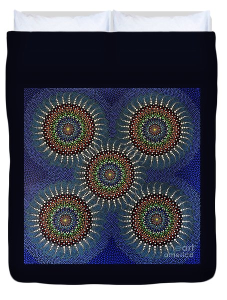 Duvet Cover featuring the painting Aboriginal Inspirations 16 by Mariusz Czajkowski
