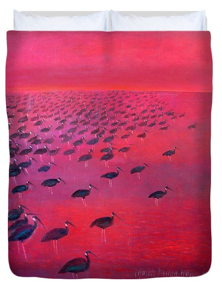 About 250 White Shouldered Ibis Oil On Canvas Duvet Cover
