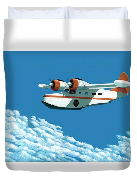 Duvet Cover featuring the painting Above It All  The Grumman Goose by Gary Giacomelli