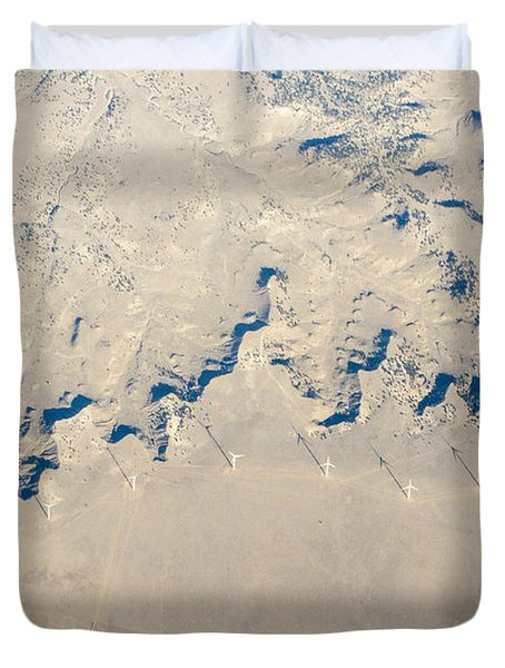 Above Kansas Windmills Duvet Cover by Darleen Stry